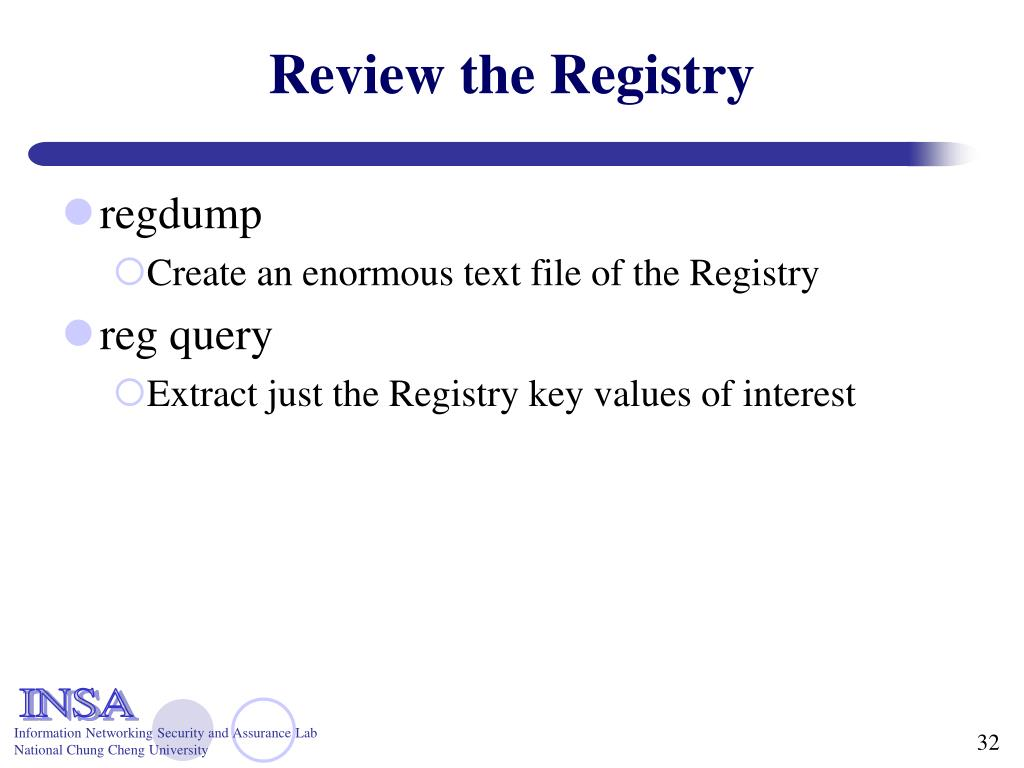 Review the Registry