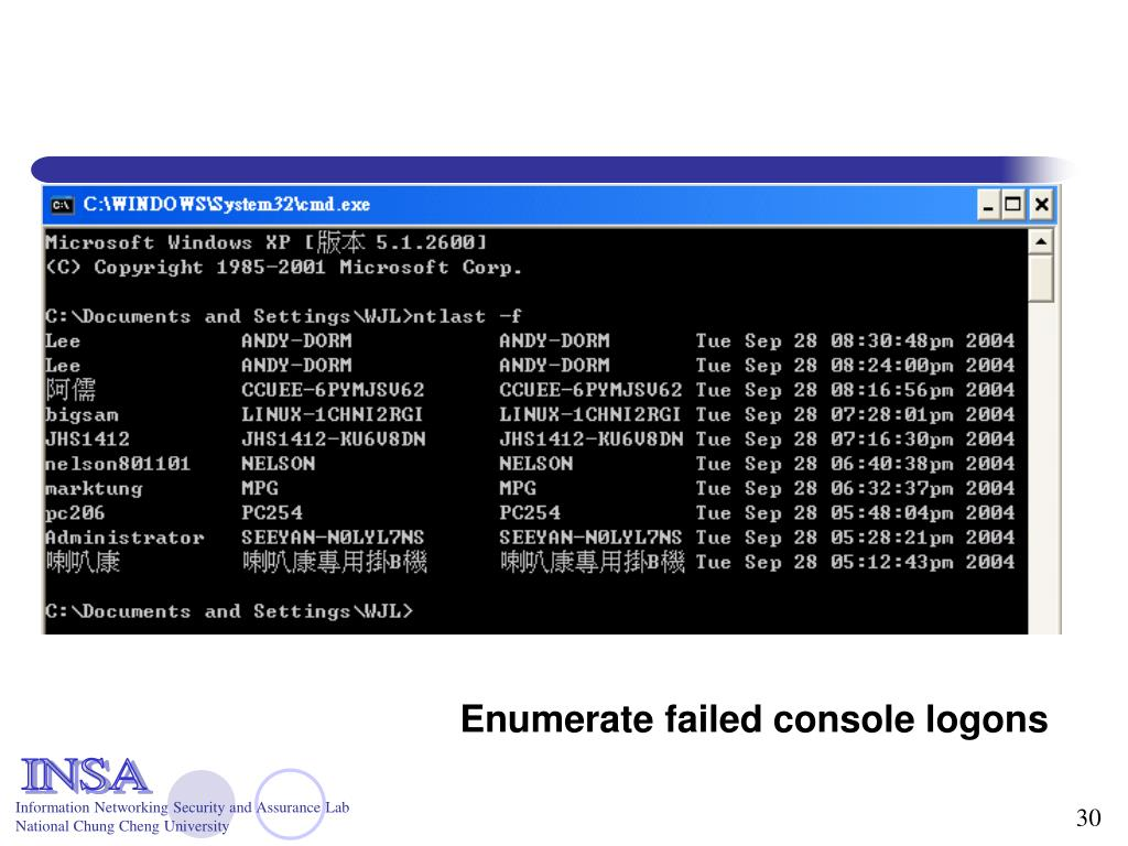 Enumerate failed console logons