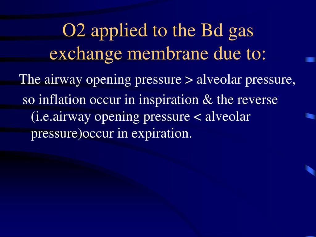 O2 applied to the Bd gas exchange membrane due to: