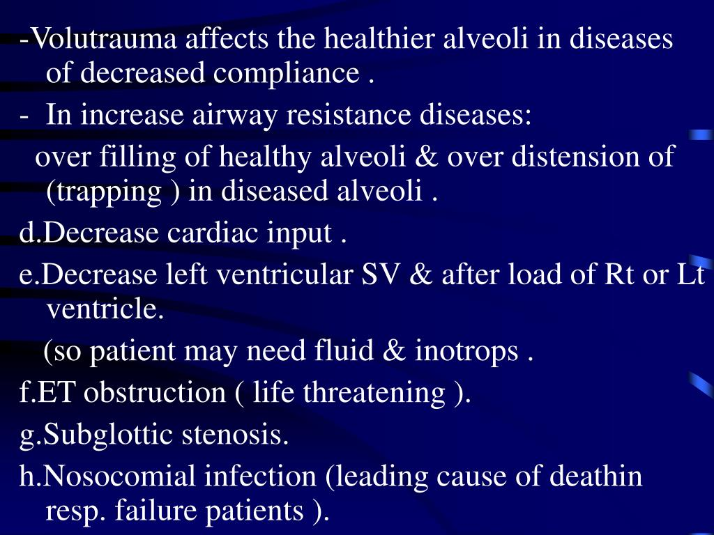-Volutrauma affects the healthier alveoli in diseases of decreased compliance .