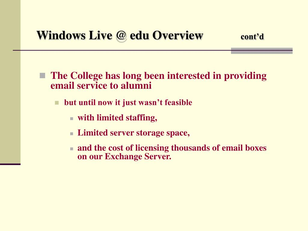 Windows Live @ edu Overview