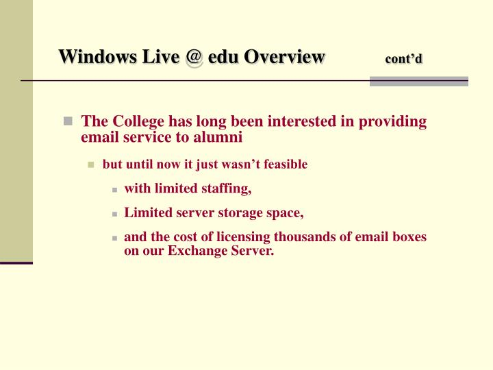 Windows live @ edu overview cont d