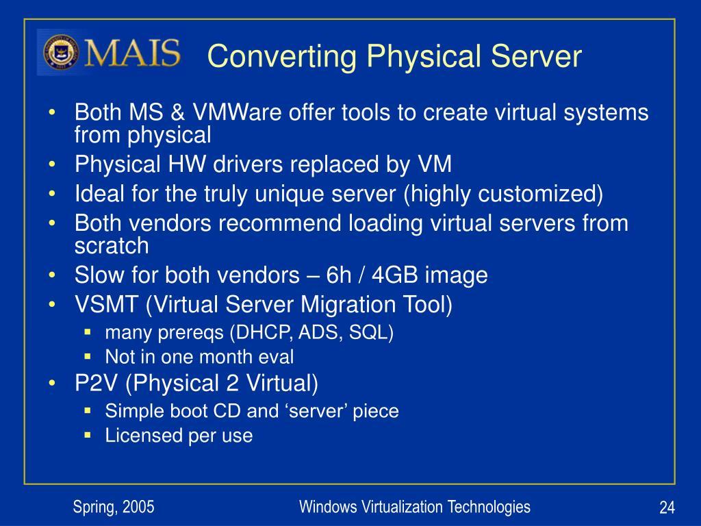 Converting Physical Server