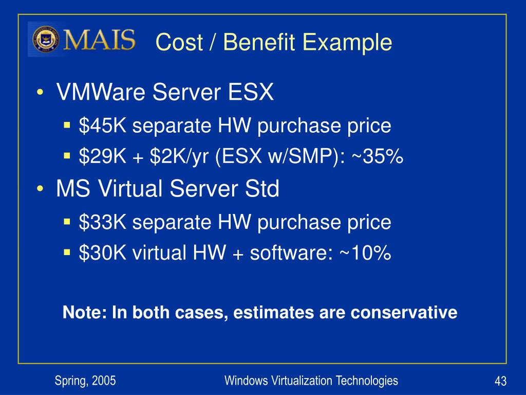 Cost / Benefit Example
