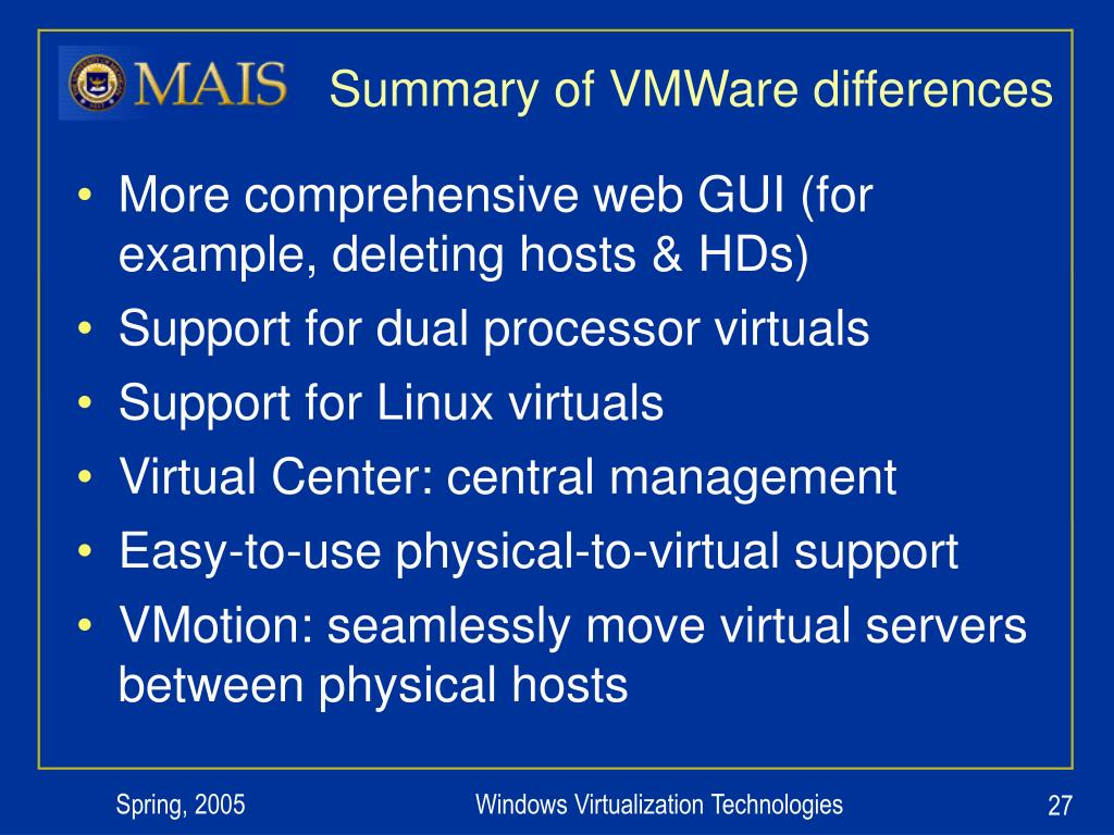 Summary of VMWare differences