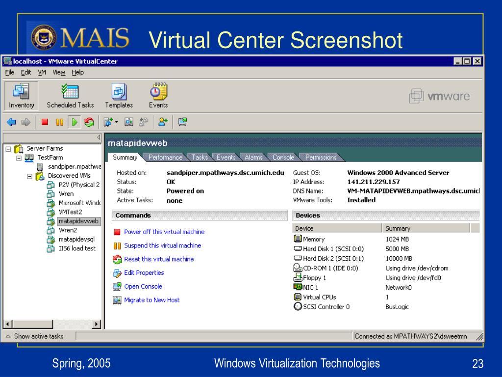 Virtual Center Screenshot