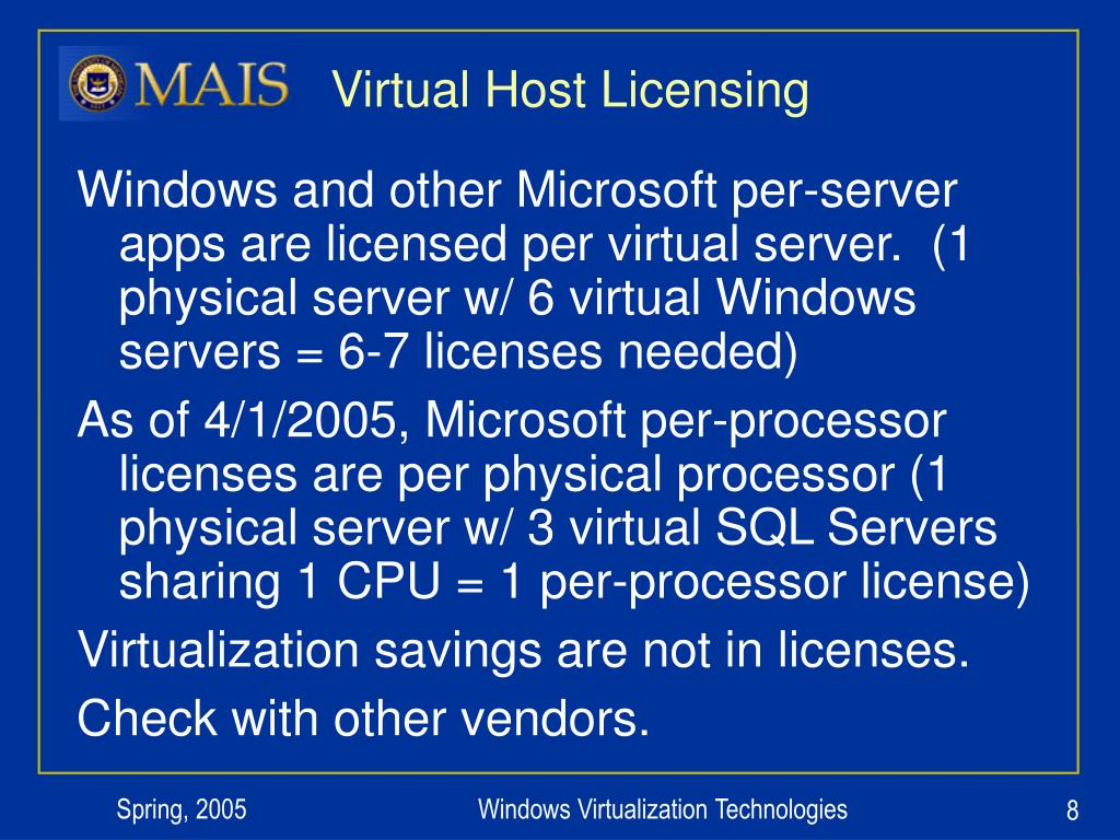 Virtual Host Licensing