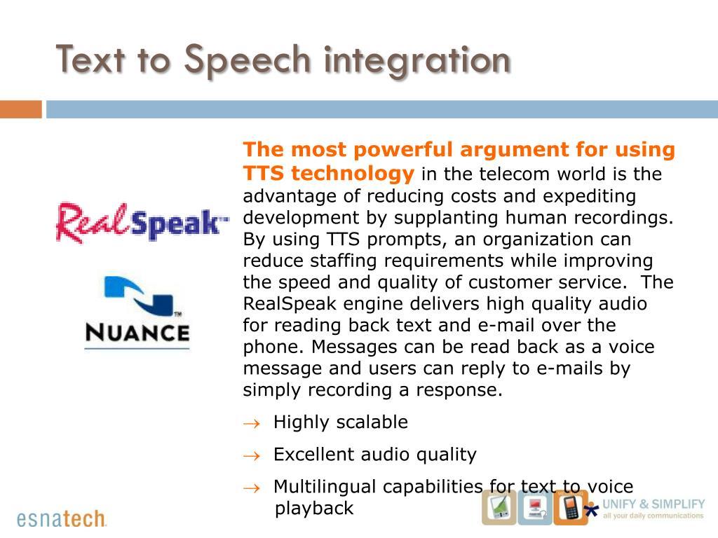 Text to Speech (TTS):