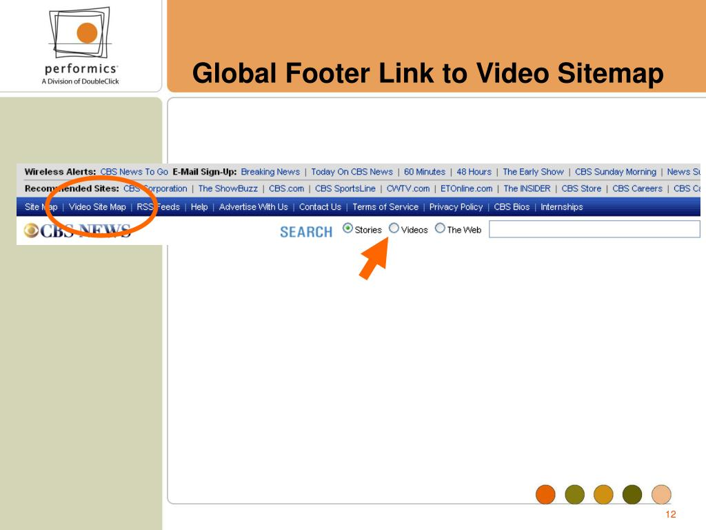 Global Footer Link to Video Sitemap