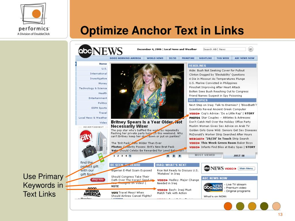 Optimize Anchor Text in Links