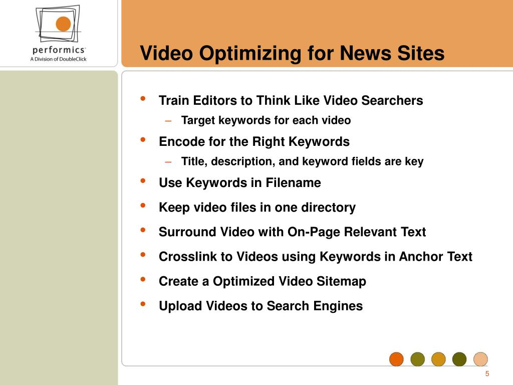 Video Optimizing for News Sites
