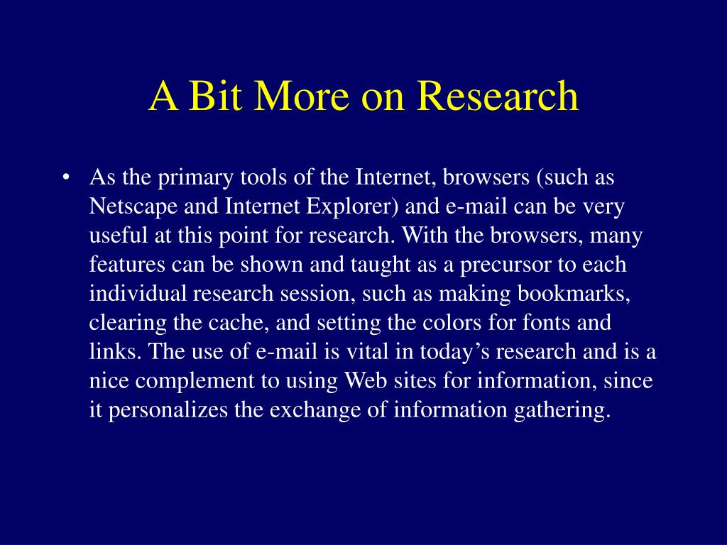 A Bit More on Research