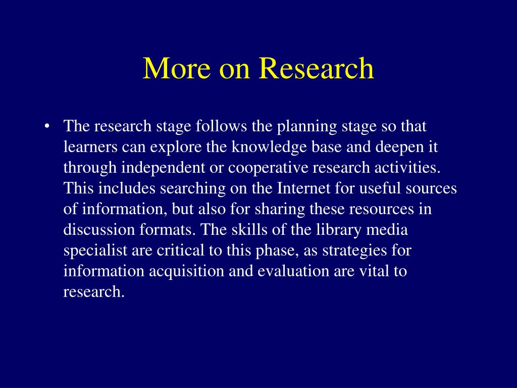 More on Research