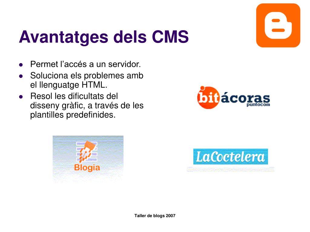 Avantatges dels CMS