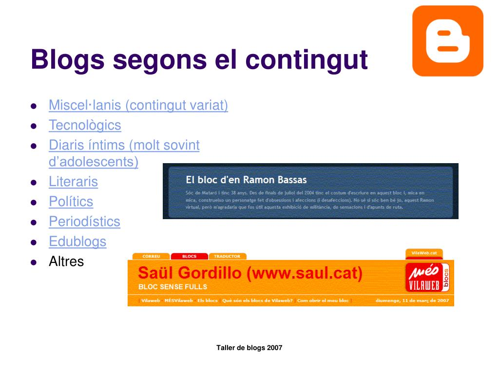 Blogs segons el contingut