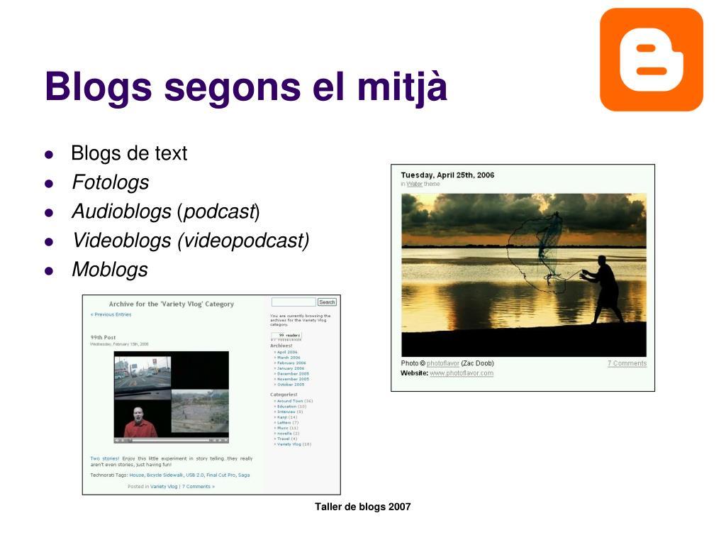 Blogs segons el mitjà