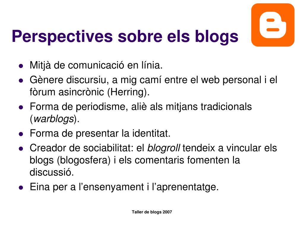 Perspectives sobre els blogs