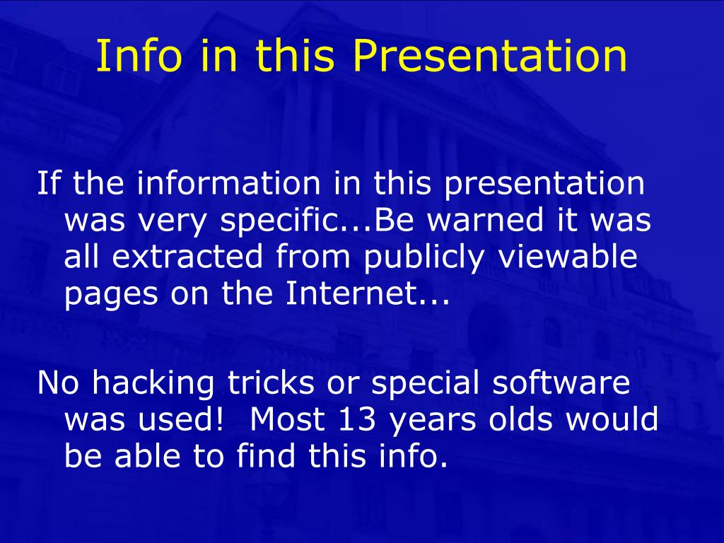 Info in this Presentation