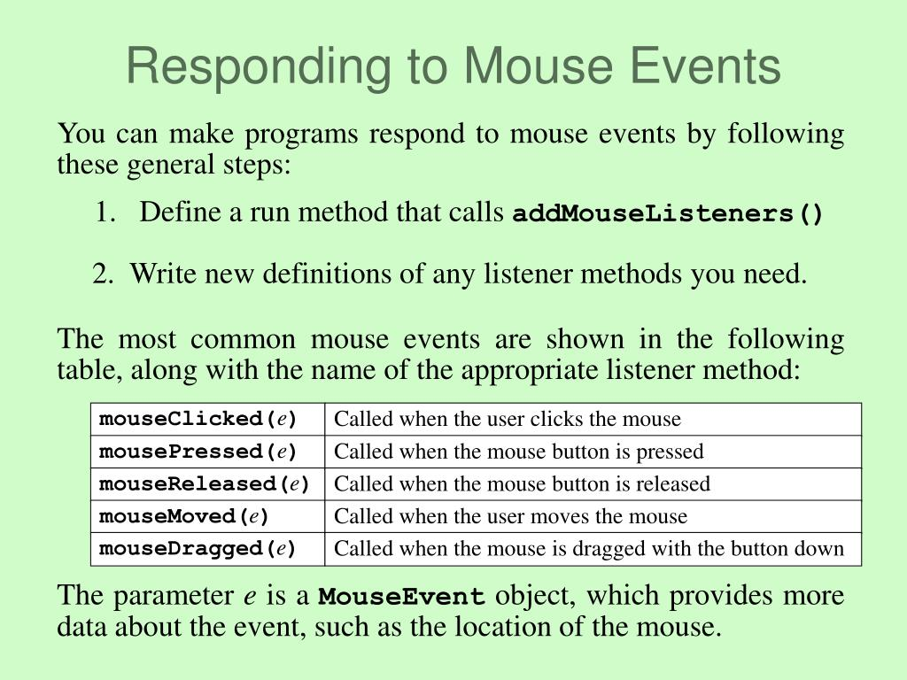 The most common mouse events are shown in the following table, along with the name of the appropriate listener method: