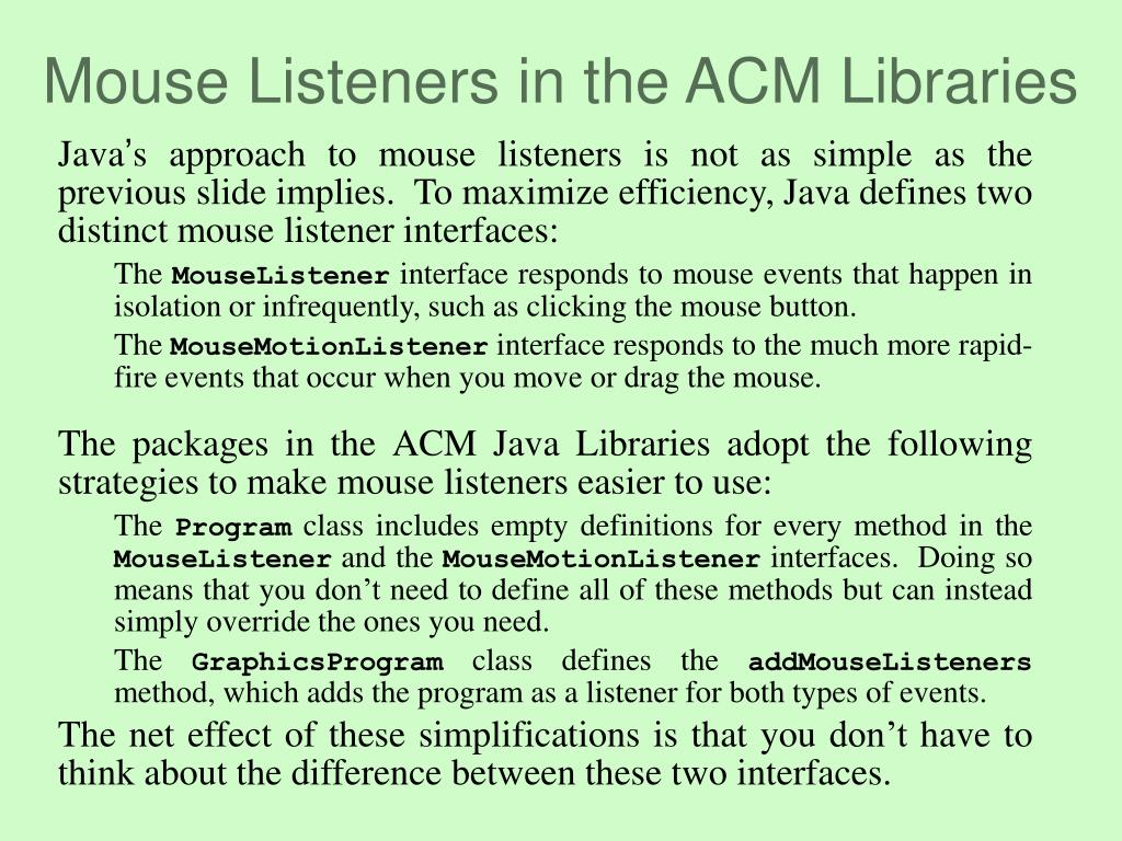 Mouse Listeners in the ACM Libraries
