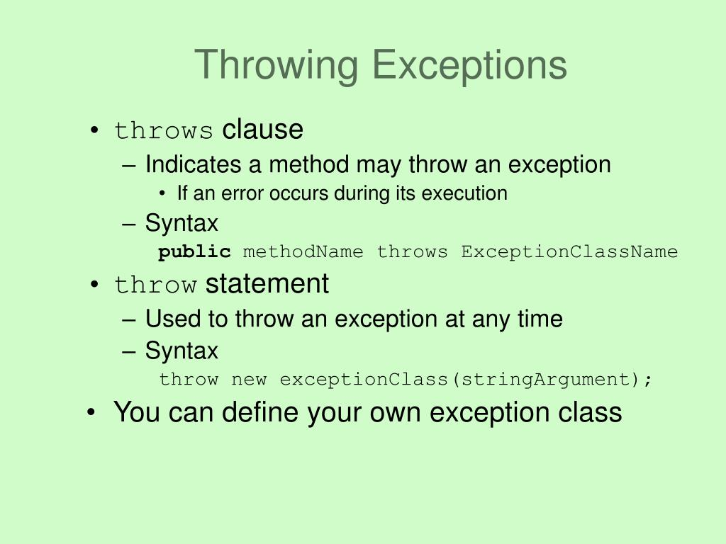 Throwing Exceptions