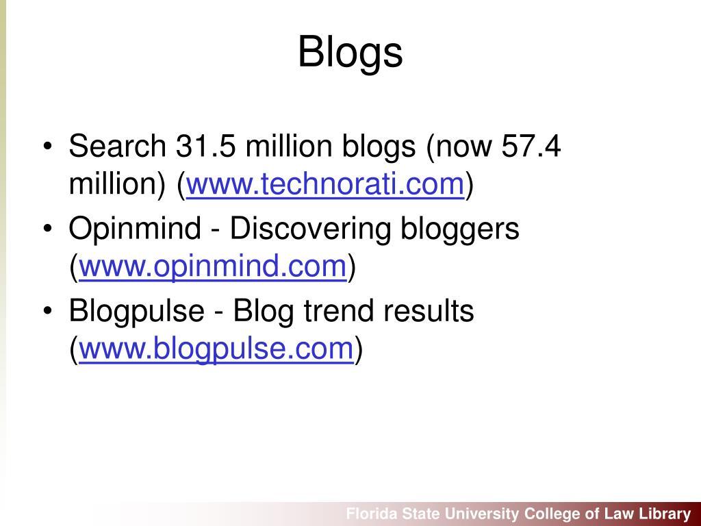 Search 31.5 million blogs (now 57.4 million) (