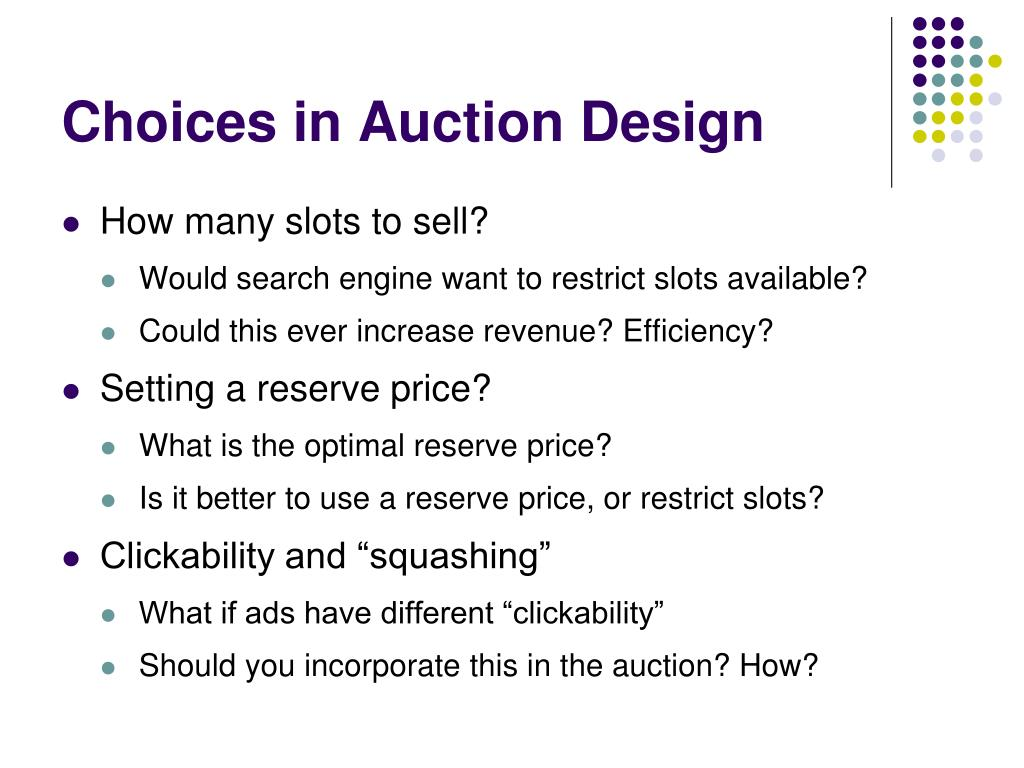 Choices in Auction Design