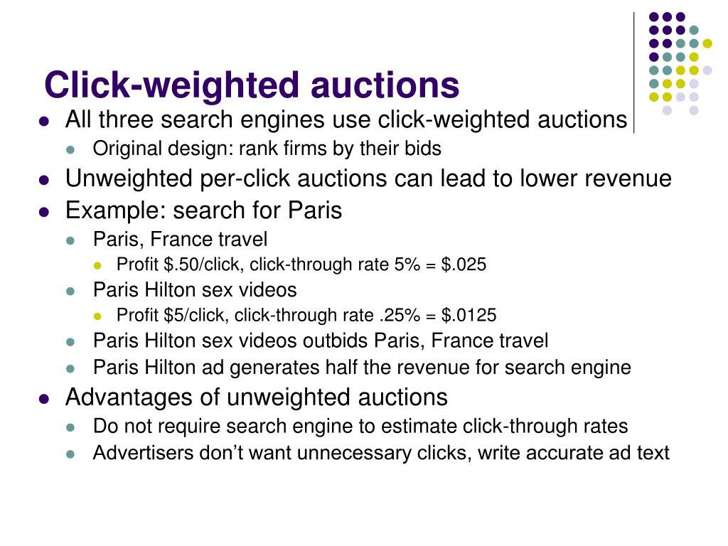 Click-weighted auctions