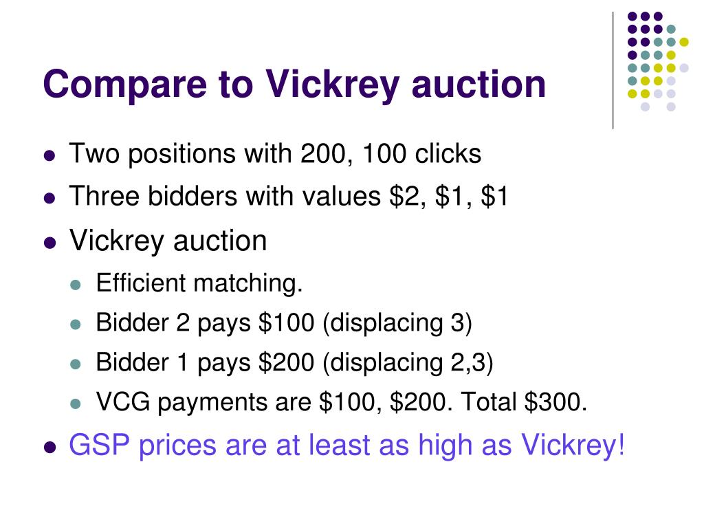 Compare to Vickrey auction