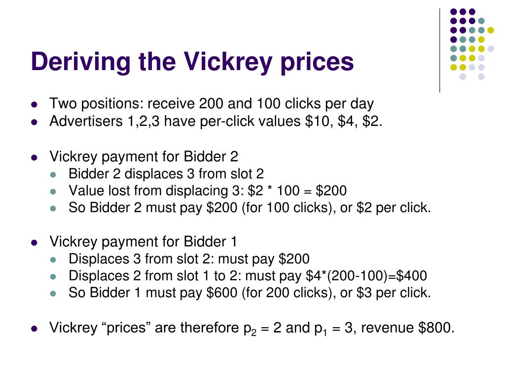 Deriving the Vickrey prices