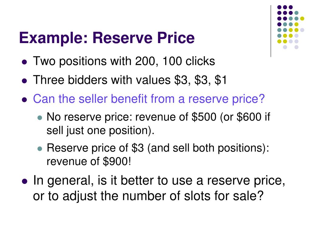 Example: Reserve Price