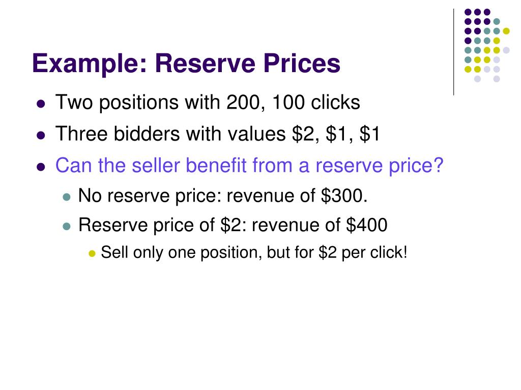 Example: Reserve Prices
