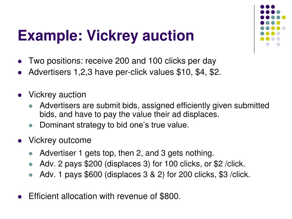 Example: Vickrey auction