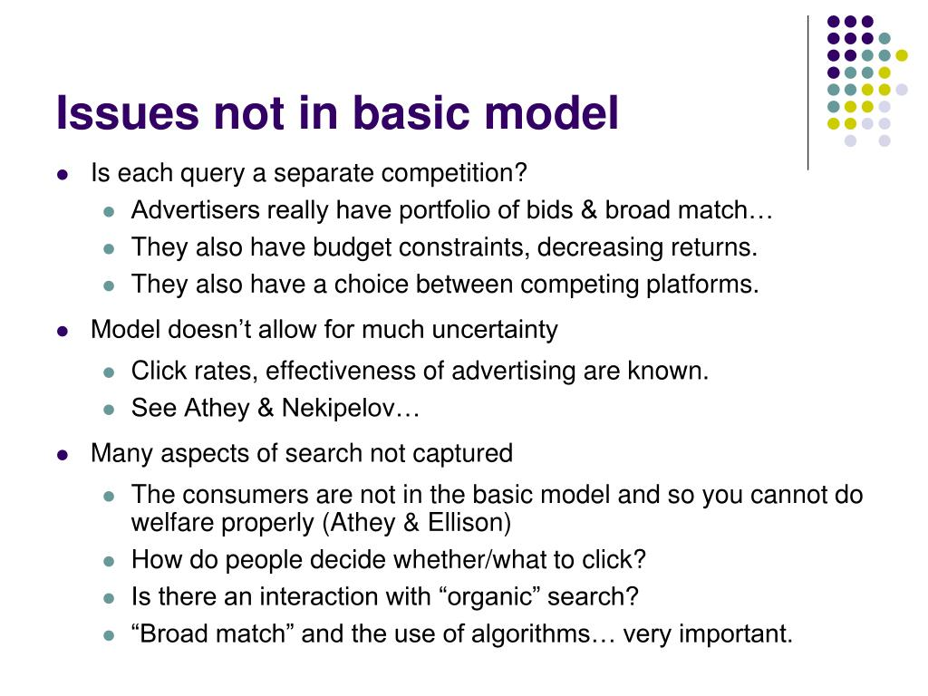 Issues not in basic model