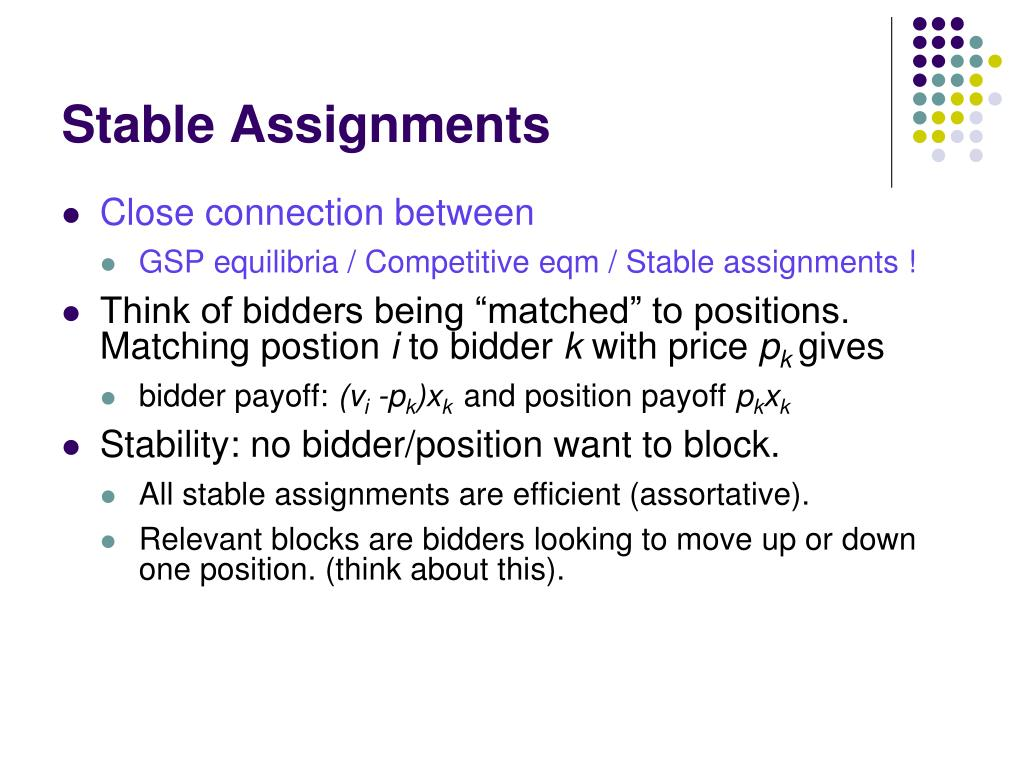 Stable Assignments