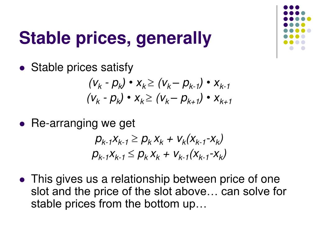 Stable prices, generally