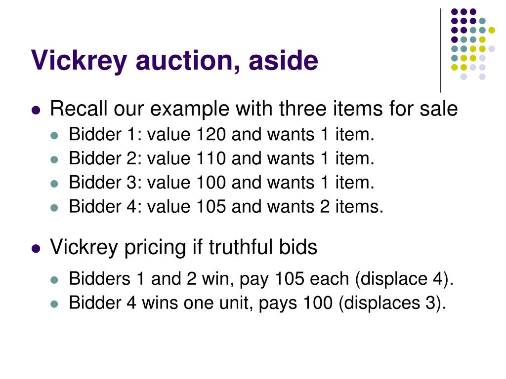 Vickrey auction, aside