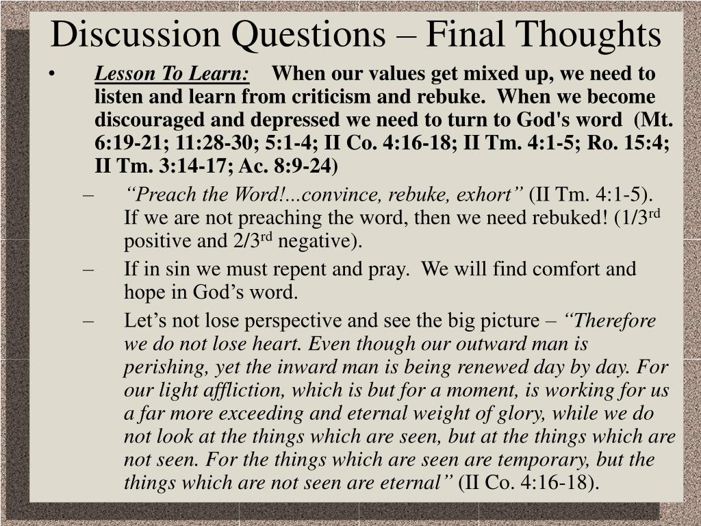 Discussion Questions – Final Thoughts