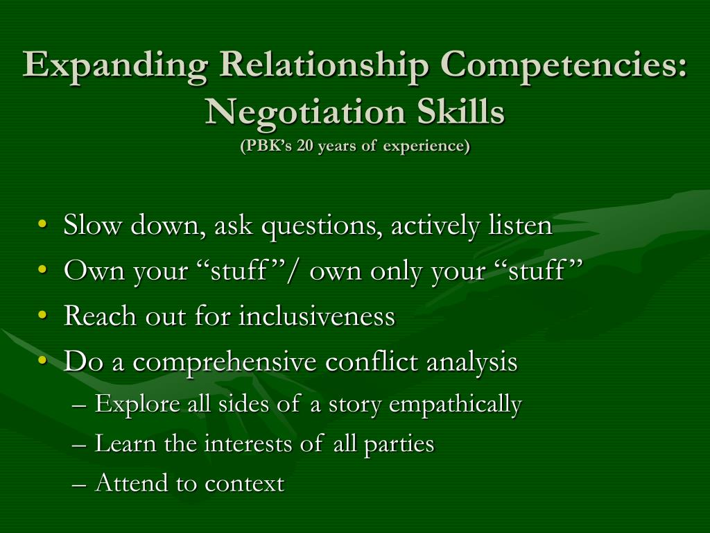 Expanding Relationship Competencies: Negotiation Skills
