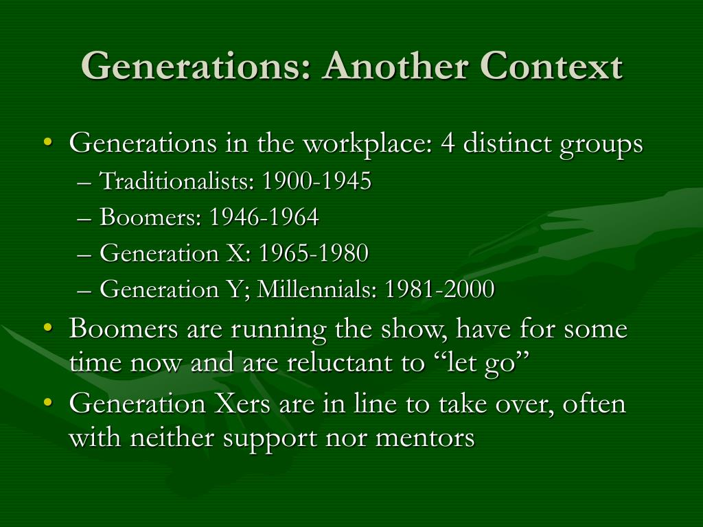 Generations: Another Context