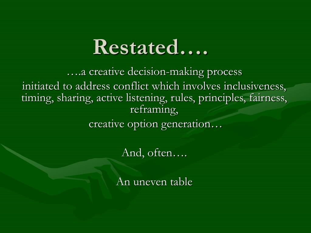 Restated….