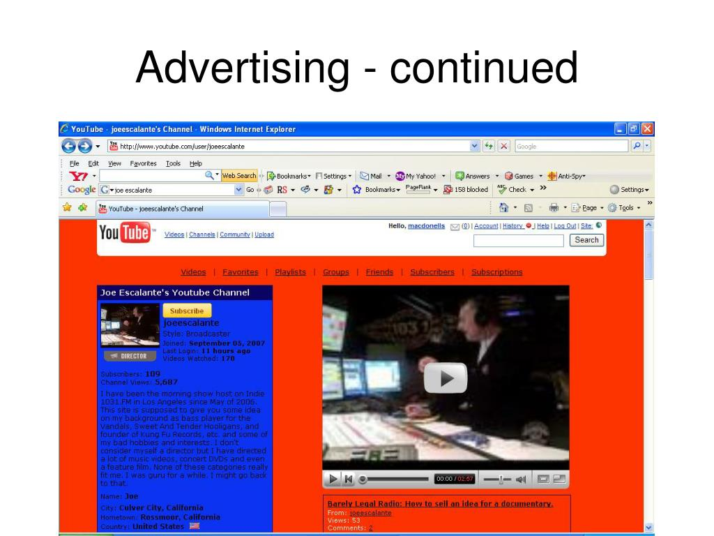 Advertising - continued