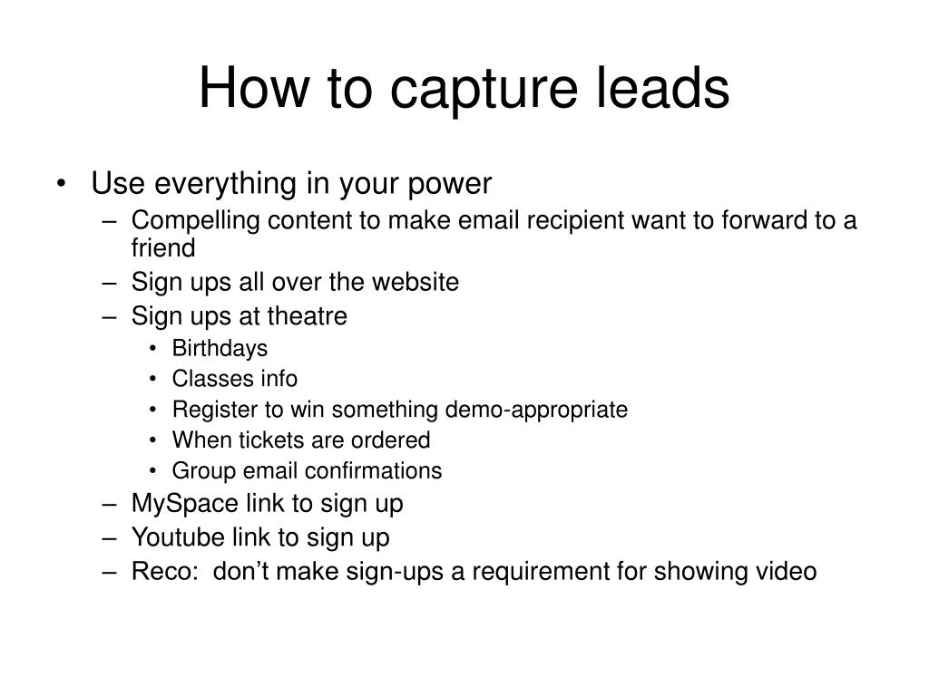 How to capture leads