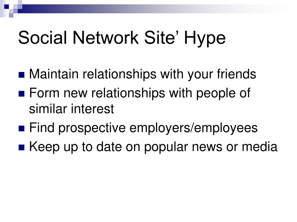 Social Network Site' Hype