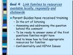 goal 4 link families to resources available locally regionally and statewide