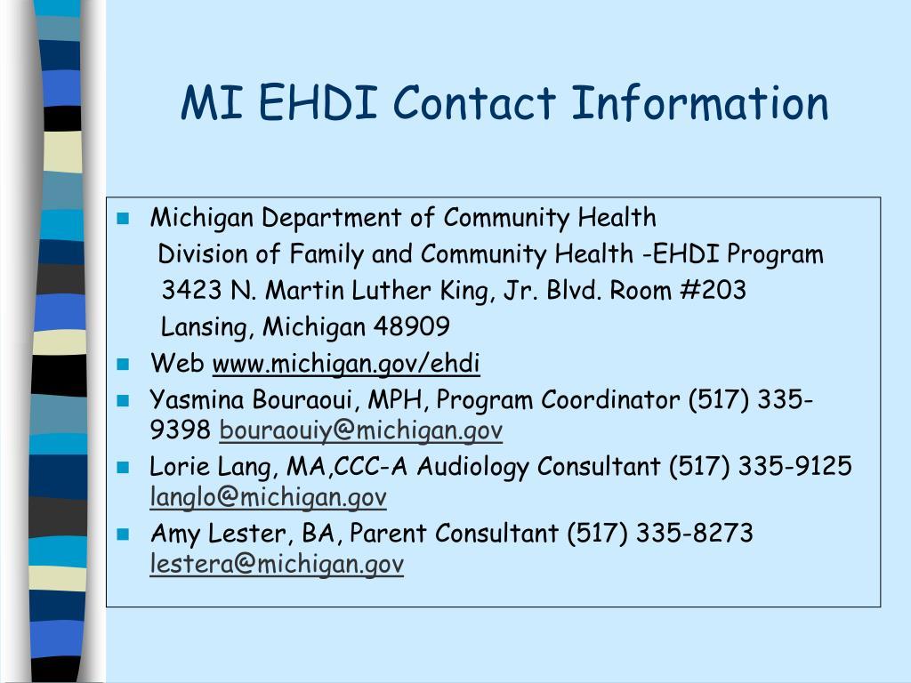 MI EHDI Contact Information
