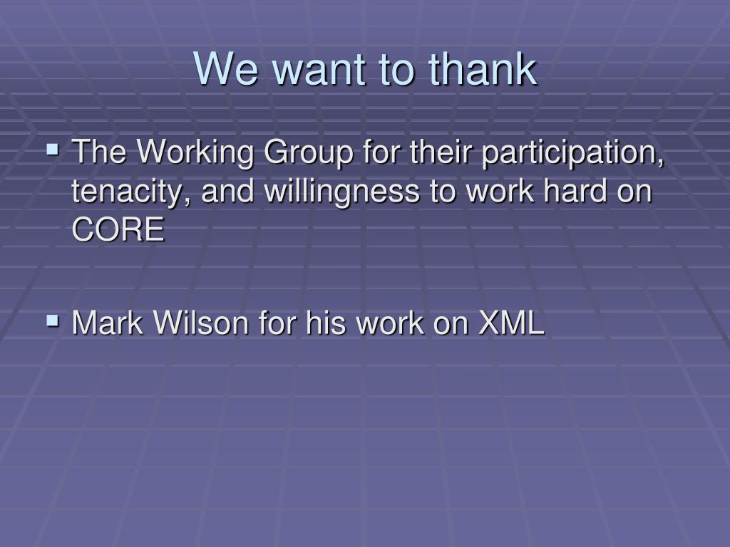 We want to thank