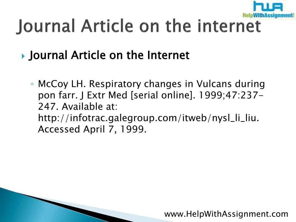 Journal Article on the internet