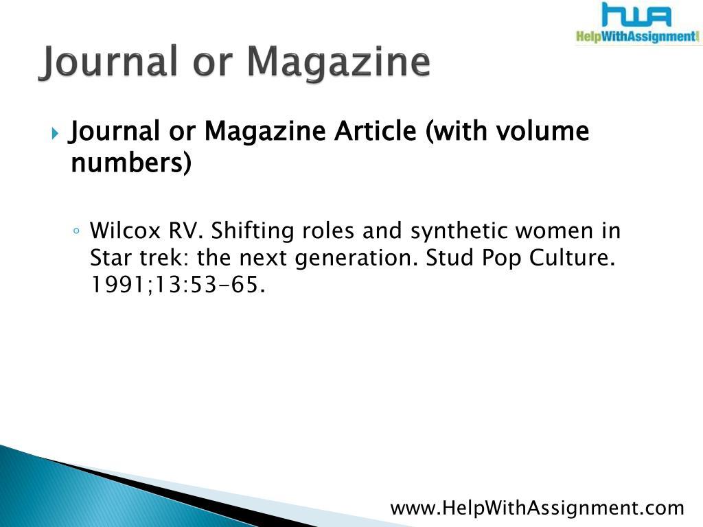 Journal or Magazine