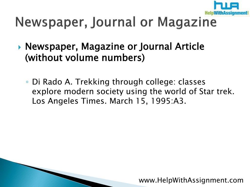 Newspaper, Journal or Magazine